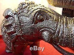 Statue Éléphant En Argent Massif Vintage Indian Oriental Animal Grande Paire 35cm 5.2kg