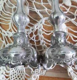 Sterling Silver Bougeoirs Paire Vintage Hazorfin Taille 15cm Israël Cadeau Rare