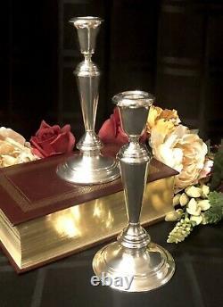 Sterling Silver Candlesticks Newport Par Gorham #16218 Vintage 8.25 Paire