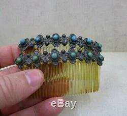 Sterling Vintage Argent 925 Vert Bleu Turquoise Accent Paire De Peignes 31