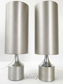 Superbe Paire De Lampes 1970 Brosse En Acier Vintage & Chrome 1970s 70s