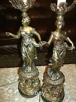 Superbe, Très Rare, Paire Vintage Art Nouveau Lampes De Table Spelter W Dancing Ladies