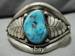 Superlatif Vintage Navajo Natural Turquoise Leaf Sterling Silver Bracelet Old