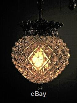 Swag Lumière Paire (2) Brillant Facettes Globes Vintage Les Luminaires À Tubes Ton Argent