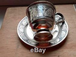 Thé Paire Cup & Saucer Vintage Kubachi Niello Argent 925 Gravure 160 Gr