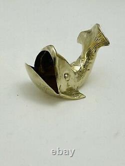 Très Rare Cartier Millésime Argent Sterling Paire Lavée D'or De Baleine Sel Cellars