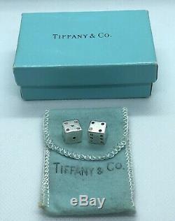 Très Rare! Vintage Tiffany & Co. En Argent Sterling. 925 Jeu Jeu De Dés Paire
