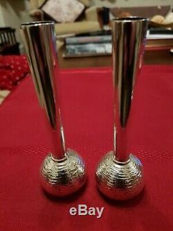 Une Belle Paire De Vintage, Argent Massif, Effet Écorce Vases Bud