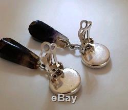 Une Paire Vintage De Boucles D'oreilles En Argent Sterling. Collet Sertie De Blue John
