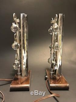 Unusual Paire Vintage Des Années 1920-1930 Style Haut Art Deco Lampes De Table Chrome Et Cristal