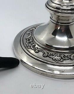 Vieille Paire D'argent Sterling De Candelabras Gorham #1130 Ciment Rempli