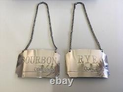 Vieille Paire D'étiquettes En Argent Sterling Concorde Rye & Bourbon Birmingham 1986
