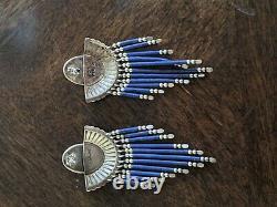 Vieille Paire De Boucles D'oreilles En Argent Sterling Qt Navajo Zuni Lapis Lazuli