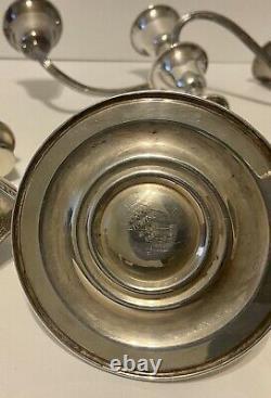 Vieille Paire De Gorham Sterling Silver Candelabra 3 Light #808, 11,5