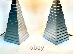 Vieille Paire De Lampes Porta Romana Obelisk Pyramide Sandstone Côté Console Table