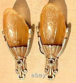 Vieille Paire De Lincoln Art Deco 1920s Slip Shade Wall Sconce Lights Remwired