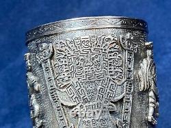 Vieille Paire De Sterling Silver. 925 Gantelets Cuff Péruviens Marqués