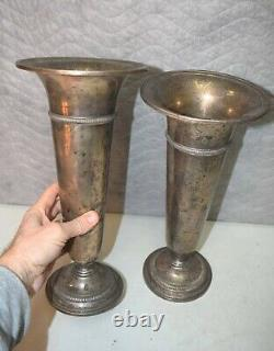 Vieille Paire De Vases De Fleur D'autel D'église En Argent Sterling 13 7/8 Ht. (cu#906)