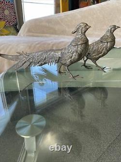 Vieille Paire Homme & Femme Argent Tone Métal Figurines Pheasant. Fait En Italie