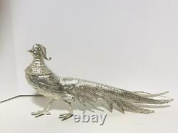 Vieille Paire Phéasants Birs Silver Plate Sculpture Art MID Siècle Moderne 21