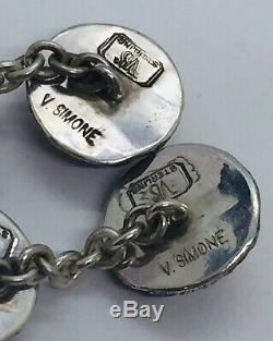Vincent Simone Vintage Paire En Argent Sterling Figuraux Hibou Yeux Grenat Boutons De Manchette
