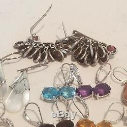 Vintage 12 Paires En Argent Sterling 925 Grenat Topaz Perle Améthyste Boucles D'oreilles Lot