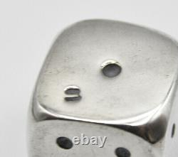 Vintage 1960 Paire De Gros Dés D'argent Sterling 29 Grammes Made In Italy