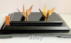 Vintage 20ème Siècle Japon Paire D'argent Pur 950 Origami Crane Birds Boxed