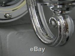 Vintage Antique Art Déco Paire Chrome Slip Ombre Crème Anglaise Verre Appliques