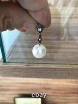 Vintage Antique Belles Perles Sterling Argent Boucles D'oreilles Paire