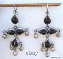 Vintage Antique Design Boucles D'oreilles Argent Paire De Danse Belly