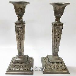 Vintage Antique Paire Chandeliers De Porte-bougies Plaquées Argent / Modelé Vieux