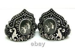 Vintage Antique Paire Sterling Argent Correspondant Bracelets Siam Cuff