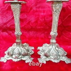 Vintage Antique/paire Chandeliers Cuivre Argent Plaqué -porte-bougies Modelé