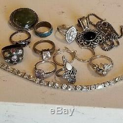 Vintage Argent 925 8 Anneaux 1 Paire Boucles D'oreilles Bracelet Onyx Collier Lot