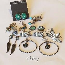 Vintage Argent Sterling 9 Paires De Boucles D'oreilles Navajo Turquoise Lapis Coral Mop