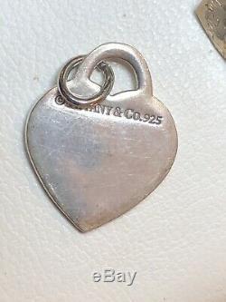 Vintage Argent Sterling Tiffany & Co. Paire Boucles D'oreilles Pendentif Charme Sac Original