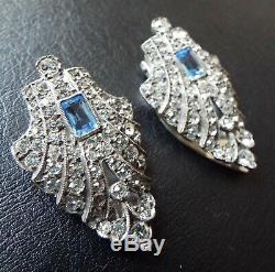 Vintage Art Deco En Argent Sterling Faux Saphir Et Diamant Pâte Clips Paire Robe