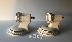 Vintage Art Déco Paire De Mur En Porcelaine Blanche Applique Luminaires Garniture Argent