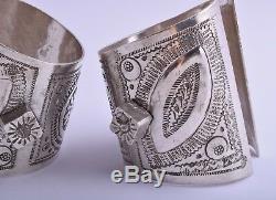 Vintage Berber Bracelet En Argent Bédouine Cuff Pair-afrique Du Nord / Moyen-orientale