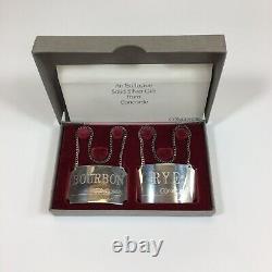 Vintage Boxed Paire D'étiquettes En Argent Sterling Concorde Rye & Bourbon