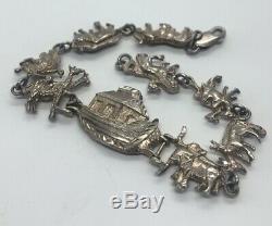 Vintage Bracelet Argent 925 Noahs Arche Animaux Bateau 8 Paires De Navires