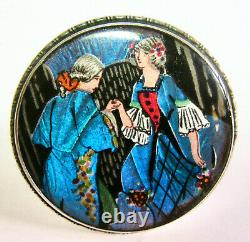 Vintage Butterfly Wing Pin Sterling Argent Angleterre Couple Dansant Turquoise