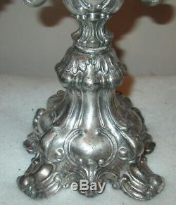 Vintage Candélabres Paire, 3 Branches Par Wm. Rogers, # 116 Silverplate Baroque Paire