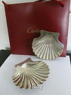 Vintage Cartier Paire D'argent Sterling Dishes Shell Caviar