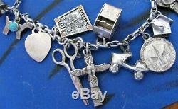 Vintage Charm Bracelet En Argent Sterling Paire 24 Charmes