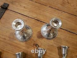 Vintage Duchin Sterling Silver Paire 2 Bras Candélabres Bougeoirs Weighted