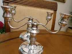 Vintage En Argent Sterling Candélabres Bougeoirs Convertible Paire Belle