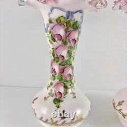Vintage Fenton Charleton Peinture À La Main Crête D'argent 8 Paire De Vases À Volants