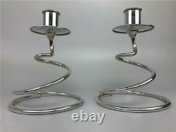 Vintage Fisher Paire MID Century Modern Spiral Curl Sterling Silver Candlesticks
